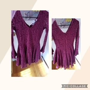 Burgandy red long sleeve Dress